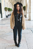 black romwe jacket - camel shaggy coat romwe coat - black yin -yang top H&M top