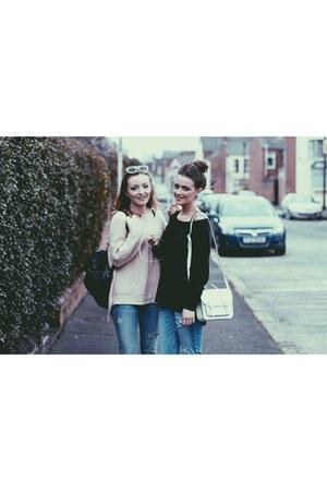 white Primark bag - light blue jeans - black H&M jumper - light pink jumper
