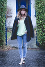 Black-heeled-new-look-boots-fluffy-black-topshop-coat-h-m-jeans