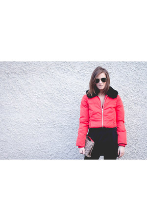 red tartan Missguided dress - red puffa Topshop coat