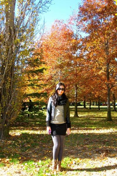 black DKNY scarf - black Mango jacket - green Topshop sweater - black H&M skirt