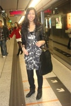 Mango - Topshop dress - Topshop tights - Yves Saint Laurent purse - Zara boots