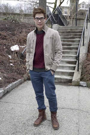 beige Chevignon jacket - maroon H&amp;M jumper - navy Topman pants
