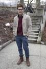 Beige-chevignon-jacket-maroon-h-m-jumper-navy-topman-pants