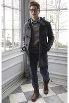 Gusto coat - heather gray OHanlon Mills sweater - Topman pants