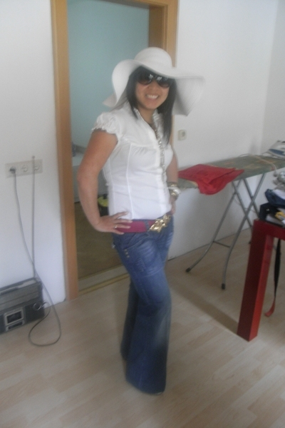 jeans - blouse - hat - belt