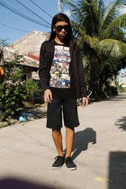 black hoodie blazer - black printed shirt - black cut Lee shorts