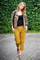 brown leopard print H&M coat - black Vero Moda bag - black H&M top