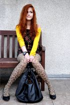 yellow Stradivarius sweater - black Bazaar shoes - yellow H&M tights
