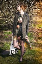 bronze galaxy romwe dress - dark green pantera Bershka coat - dark green belt