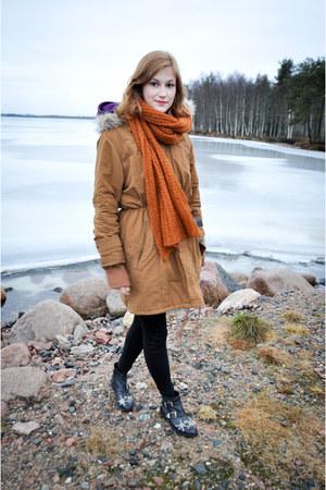 black new look boots - heather gray Cubus hat - bronze parka Cubus jacket