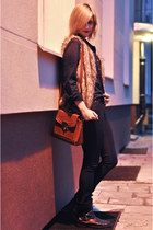 tan fake fur Mohito vest - black Bata boots - navy skinny Primark jeans
