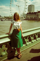 white Paper Doll t-shirt - forest green Traid skirt - tawny Primark belt - dark