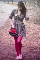 black H&M dress - hot pink Gatta tights - gray River Island bag - beige H&M flat