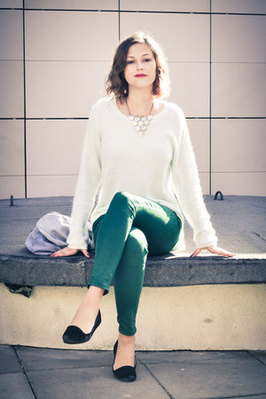 aquamarine angora H&amp;M sweater - green 7-8 lenght Topshop jeans
