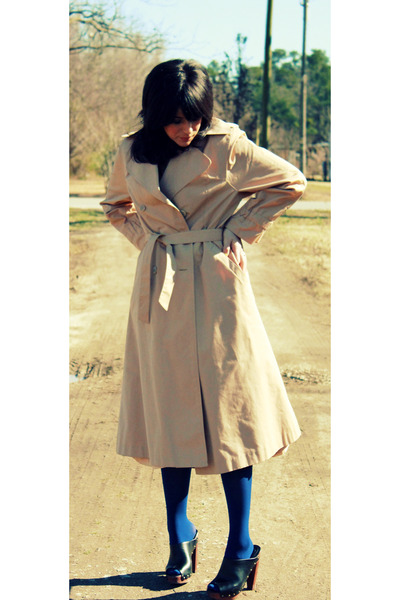 black platforms Forever 21 shoes - beige trench coat thrited coat - navy Target