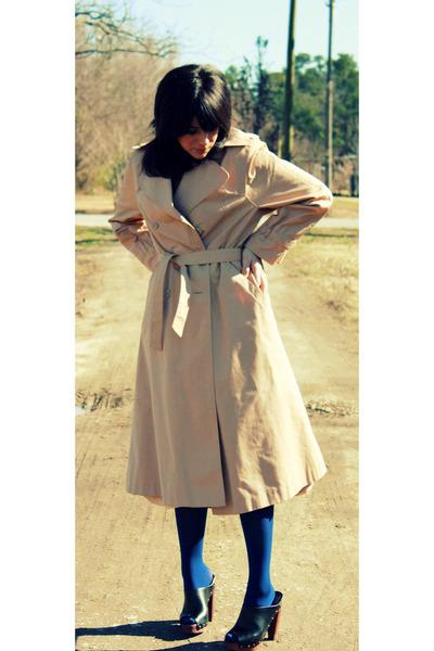 black platforms Forever 21 shoes - beige trench coat thrited coat - navy Target