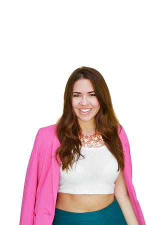 white crop top asos top - hot pink blazer H&M blazer - green midi JCrew skirt