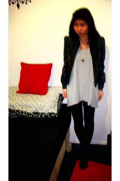 stockings - asos jacket - Agent 99 top - house of harlow necklace - Steve Madden