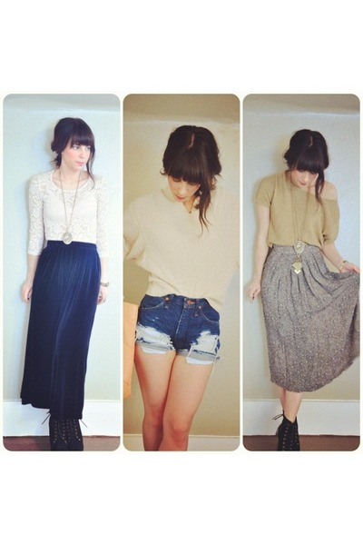 vintage sweater - vintage skirt - vintage top