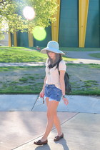cut offs bluepea shorts - loafers vintage shoes - vintage hat