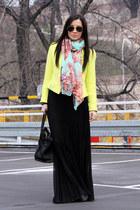 yellow Zara jacket - black asos skirt
