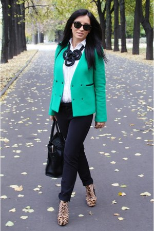 SANDRO blazer - Zara pants - brian atwood heels