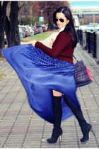 blue American Apparel skirt - crimson asos sweater