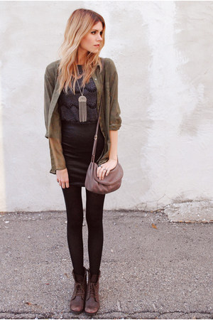 lace Zara top - military green H&amp;M top - Forever 21 skirt