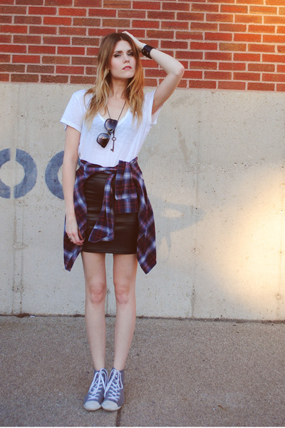 flannel BDG shirt - Converse shoes - leather Forever 21 skirt