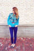 geometric Forever 21 sweater - Aldo shoes - BDG pants