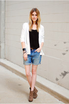 H&M blazer - boyfriend denim H&M shorts - leopard print BCBGeneration wedges