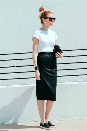 leather midi asos skirt - sam edelman flats