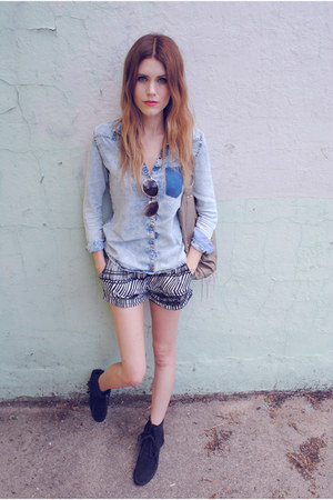 H&amp;M shorts - moccasins Minnetonka shoes - asos bag - denim Zara top
