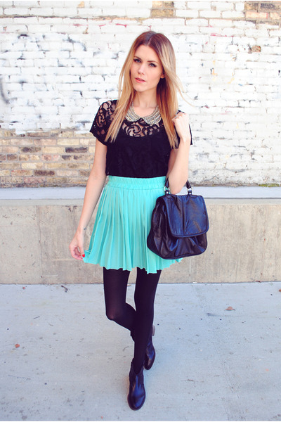 pleated skirt shop sosie skirt - Steve Madden boots - lace Forever 21 top