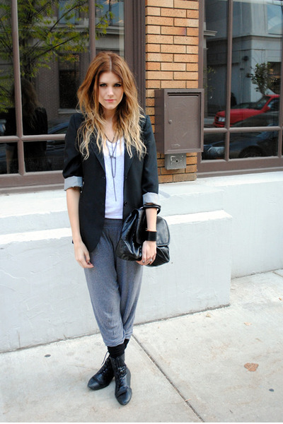 H&M bag - Halogen blazer - Aldo socks - harem pants H&M pants - H&M necklace