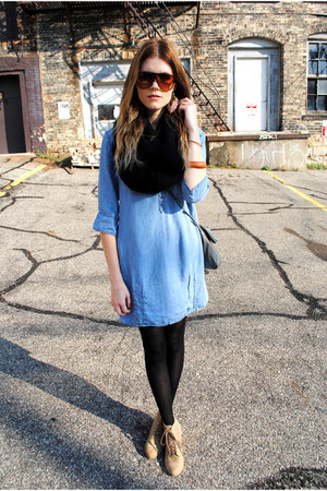 tube scarf H&amp;M scarf - jean dress Zara dress