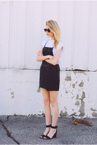 faux leather salsit dress - asos t-shirt - Enzo Angiolini sandals
