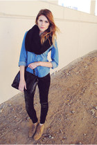 velvet Urban 1972 leggings - chambray H&M shirt - snood H&M scarf
