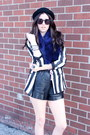 White-striped-zara-blazer-black-deena-ozzy-hat-blue-fur-mendocino-scarf