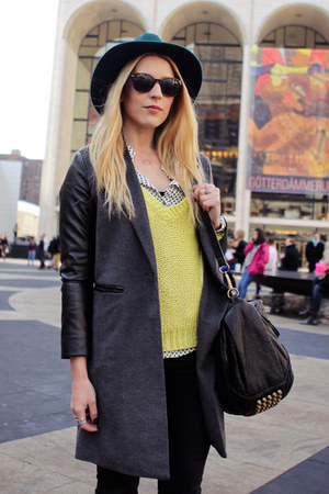 Forever 21 jacket - JBrand jeans - Forever21 hat - Zara sweater