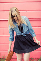 blue RVCA shirt - black Something Else dress - tawny HoBo International purse