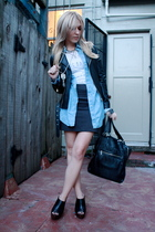 white t-shirt - blue shirt - silver BDG skirt - black Silence & Noise jacket - b