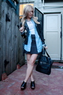 White-t-shirt-blue-shirt-silver-bdg-skirt-black-silence-noise-jacket-b