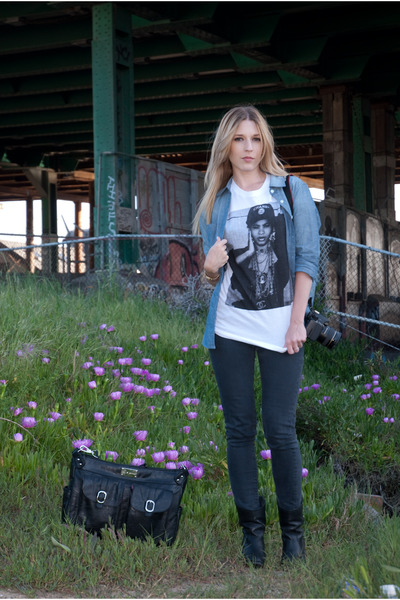 blue RVCA shirt - black BDG jeans - white DimePiece Designs t-shirt - black kell