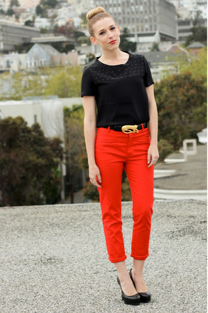 gold ebay thrifted belt - black studded Banan republic shirt