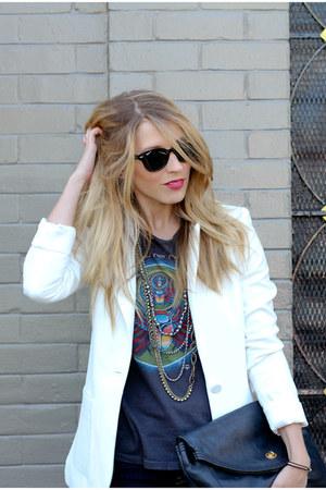 black Kelsi Dagger shoes - navy Levis jeans - white H&M blazer - black clutch Ma