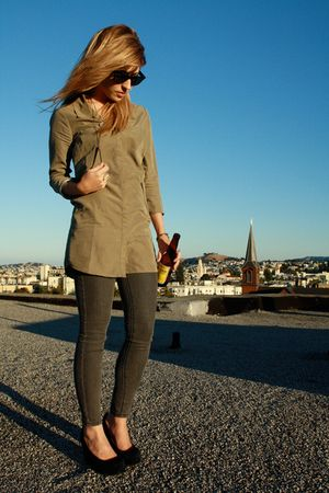 green Silence & Noise shirt - gray BDG jeans - black Jeffrey Campbell shoes - si