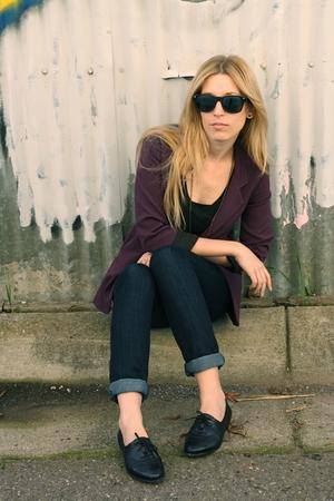 purple Silence & Noise blazer - black BDG t-shirt - makers of true originals jea
