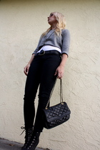 shirt - pants - boots - purse - accessories